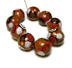 Handmade Beads Polymer Clay Set of 9 Beads by SweetchildJewelry