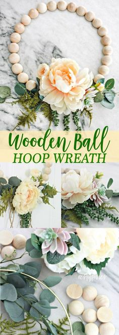 Wooden Ball Hoop Wreath - Nest of Posies Wreaths For Front Door, Door Wreaths, Diy Wreath, Wreath Making, Wreath Ideas, Types Of Craft, Wreath Forms, Valentine Wreath, Cool Diy Projects
