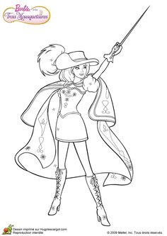 coloriage barbie 3 mousquetaires sur hugolescargotcom hugolescargotcom barbie coloring pagescoloring bookkids colouringmusketeersboardbarbie - Book Coloring Sheet