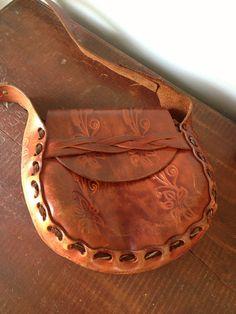 vintage 1970's tooled leather Boho purse