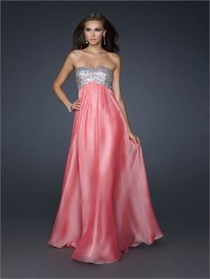 Strapless Sequined Bust and Gathering On Center Front Chiffon Prom Dress PD10841
