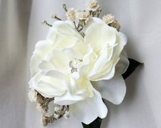White Gardenia Hair clip Bridal flowers Wedding headpiece