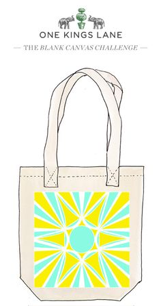 Cast your vote for Helena Finkelstein's tote bag design by pinning it! For more info on our Blank Canvas Challenge visit www.onekingslane.com/designchallenge