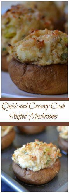These Quick and Creamy Crab Stuffed Mushrooms are filled with fresh crab, cream cheese, bread crumbs, garlic and Parmesan. You can mix them in a single bowl in about 3 minutes and scoop the mixture in with a cookie scoop. Use gf breadcrumbs Mushroom Appetizers, Finger Food Appetizers, Appetizers For Party, Appetizer Recipes, Crab Appetizer, Seafood Appetizers, Party Recipes, Sausage Appetizers, Cold Appetizers