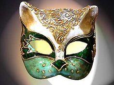 Masque chat vert et or