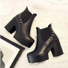 Estilo Vintage botines para mujeres Sexy Chunky Heels remaches motocicleta botines punky de la alta calidad sólida plataforma zapatos cortos(China (Mainland))