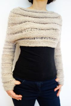 PDF Pattern Oatmeal Cropped Thumb Hole Sweater/ by CamexiaDesigns - Sweater Knitting PATTERN - Oatmeal Cropped Thumb Hole Sweater/ Chunky Knit Shrug/ Adjustable Length Crochet Shrug Pattern, Knit Shrug, Sweater Knitting Patterns, Crochet Cardigan, Knit Patterns, Knit Crochet, Shrug Sweater, Knit Sweaters, Yarn Color Combinations