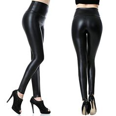 Tagoo Womens High Waist Slim Fit Wet Look Imitation Leather Pants  Large  Black * Find out more about the great product at the image link.