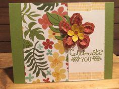 Stampin Up Botanical Blooms Designer Paper Botanical Builder Framelits Old Olive Cajun Craze Crushed Curry Celebrate Card Floral Tropical
