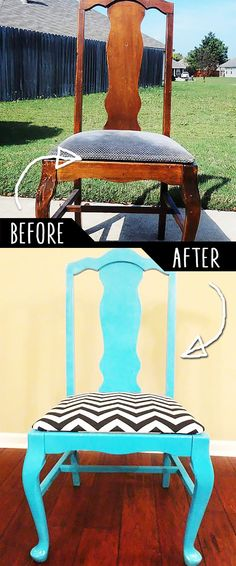 DIY Furniture Makeovers - Refurbished Furniture and Cool Painted Furniture Ideas for Thrift Store Furniture Makeover Projects | Coffee Tables, Dressers and Bedroom Decor, Kitchen |  Classic Meets Chevron  |  http://diyjoy.com/diy-furniture-makeovers