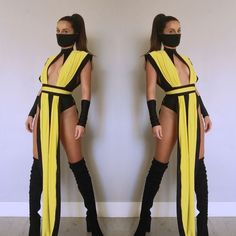 mortal combat costume email nanibikini@ to order includes one piece yellow cover belt face mask wrist covers Ninja Halloween Costume, Couples Halloween, Unique Halloween Costumes, Halloween Outfits, Costume Ideas, Sexy Ninja Costume, Sexy Diy Costumes, Ninja Costumes, Sexy Costumes For Women