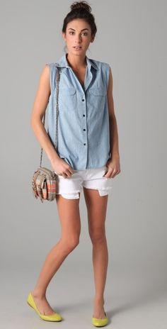 cutoff shorts + denim sleeveless top.