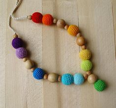 Nursing necklace Rainbow Teething crochet necklace Breastfeeding mom Babywearing crochet necklace Child toy Organic wooden beads  Ring sling