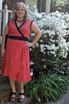 Red and black polka dot Diana wrap dress with ruffle detail. Curvy Diana Wrap dress available in sizes 14-24 / 44-54, Ladies PDF sewing pattern