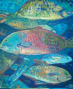 Fish art - blue, salmon, sea green