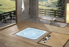 Most traditional homes usually feature the same type of bathtub. One of them is the sunken bathtub. Modern Bathrooms Interior, Contemporary Bathroom Designs, Luxury Bathrooms, Dream Bathrooms, Sunken Bathtub, Jacuzzi Tub, Japanese Bathtub, Japanese Shower, Natural Bathroom