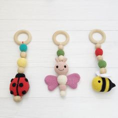 Baby gym toys crochet Set of 3 Organic teething toy Baby shower gift girl Play gym toys Activity cen Crochet Ladybug, Crochet Baby Toys, Crochet Baby Mobiles, Newborn Toys, Play Gym, Teething Toys, Baby Rattle, Lady Bug, Girl Gifts