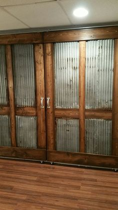 My custom-built sliding barn doors! Rustic Industrial doors with stained wood and corrugated metal. - April 13 2019 at Diy Barn Door, Sliding Barn Door Hardware, Sliding Doors, Window Hardware, Door Hinges, The Doors, Wood Doors, Front Doors, Entry Doors
