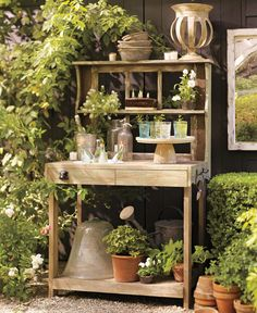 Create a space for tending plants and flowers that's as attractive as it is functional. All it takes is a well–designed, weather–loving worktable that's ample enough to display and care for all sorts of greenery.