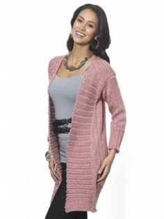 A flattering silhouette collides with beautiful, simple stitchwork in the Long and Lean Cardi. This dusty rose-colored knit cardigan pattern features an open construction, making it quintessential layering piece.