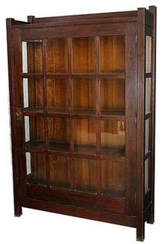 Early Gustav Stickley mitered mullion large one-door china cabinet. - August 03 2019 at Shabby Chic Furniture, Shabby Chic Decor, Antique Furniture, Antique Sideboard, Antique Bookcase, Antique Sofa, Craftsman Style Furniture, Mission Style Furniture, Craftsman Interior