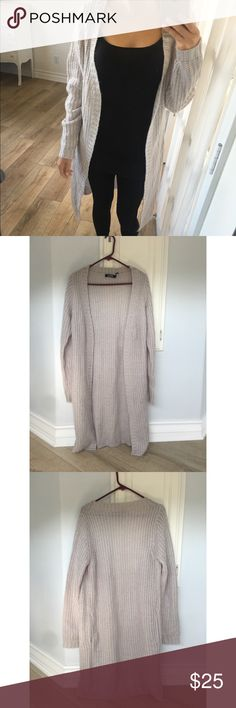Missguided long cardigan Missguided long knit cardigan in gray. US size 4. Perfect condition. Has 2 pockets Missguided Sweaters Cardigans