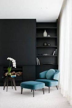 Black is a dramatic backdrop for a room allowing the most delicate flower or simple piece of furniture to be magnified by the contrast. Photo credit: pinterest.com