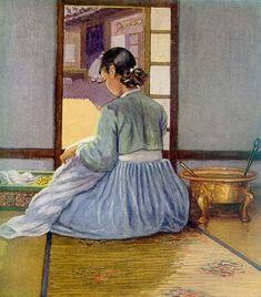 (Korea) Woman sewing, 1922 by Elizabeth Keith (Scotland, woodblock print. Korean Traditional, Traditional Art, Traditional Outfits, Korean Art, Asian Art, Korea Dress, Illustrator, Korean Painting, Korean Hanbok