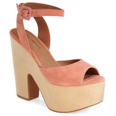 """Jeffrey Campbell 'Sassy' Wood Platform Sandal, 5 1/4"""" heel (£90) ❤ liked on Polyvore featuring shoes, sandals, heels, coral suede, platform heel sandals, wooden heel platform sandals, platform sandals, wooden platform shoes and high heel platform sandals"""