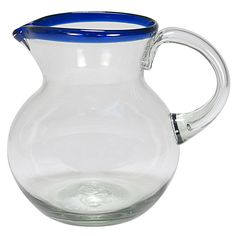 Mexican hand blown glass blue rimmed pitcher. Perfect for serving margaritas or ice cold water. 88 oz. $28.75