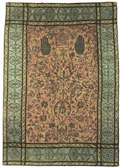 A LARGE SAFAVID SILVER-THREAD EMBROIDERED SILK PRAYER PANEL | IRAN ...