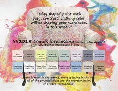 SS2015 trends forecasting for Women, Men Apparel - edgy shaped print with busy, contrast, clashing color will be shaping your wardrobes in t...