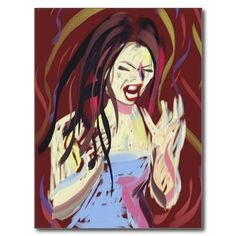 how I felt this week angry emotional woman screams Postcards