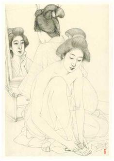 graphite sketch by Goyo Hashiguchi - Japanese Drawings, Japanese Prints, Art Occidental, Artist Sketchbook, Art Inspiration Drawing, Japanese Painting, Japan Art, Illustrations, Digital Illustration