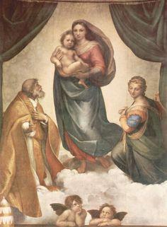 Raffael. Sixtinische Madonna, Szene: Maria mit Christuskind, Hl. Papst Sixtus II. und Hl. Barbara. 1513-1514, Öl auf Leinwand, 265 × 196 cm. Dresden, Gemäldegalerie.