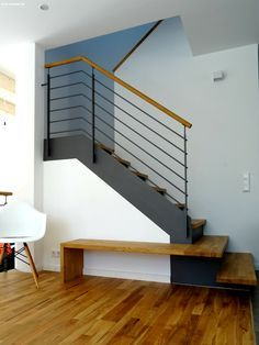 Entry Stairs, House Stairs, Loft Staircase, Stair Railing, Banisters, Staircase Design, Modern Staircase, Entrance Hall, Foyer