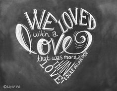 Valentine Decor - Love Quote - 11x14 Print - Chalkboard Art - Edgar Allan Poe Art - Chalk Art - Chalkboard Print. by lilyandval