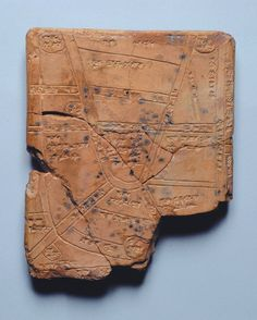 The Oldest Known Map: The Map of Nippur  This ancient clay tablet dates to the 14th-13th century BC. It shows a map of the countryside around the Mesopotamian city of Nippur, located in the middle of the southern Mesopotamia floodplain, near the modern city of Diwaniyah, Iraq.