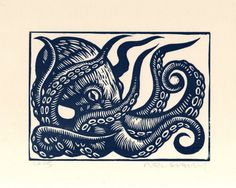 Hand Carved and Hand Press Octopus Linocut Print Hand printed in slate blue oil based ink on white or ivory 65 lb acid free card stock paper Image