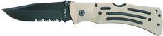 "KA-BAR 3053 Desert Tan MULE Combo Edge Folding Knife Weight: 0.45                                Overall length: 9 1/8"" Blade Length: 3 7/8""                  Blade Shape: Clip Point Blade Stamp: KA-BAR              Steel: AUS 8A SS                      Grind: Hollow                              HRC Rating: 57-59CR Handle:  Tan Zytel                      Serrated: Yes Lock: Lockback   Knife comes with a tan Nylon belt sheath & reversible belt clip. www.tomarskabars.com"