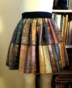 Bookcase Full Skirt by GoFollowRabbits on Etsy, $45.99