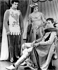 Robert Goulet, Julie Andrews and Richard Burton in the New York production of Camelot in 1960.