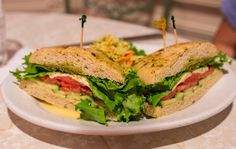 Vegetarian Sandwich  Fresh Mozzarella, Hummus, Basil Pesto, Cucumber, Roasted Red Pepper, Tomato, and Lettuce on Freshly Baked Focaccia with choice of Broccoli Slaw, Homemade Chips, or French Fries $11.99