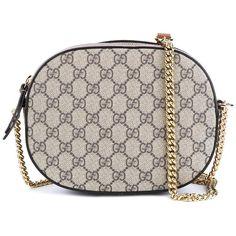 Gucci 'GG Supreme' Mini Chain Bag (61,400 INR) ❤ liked on Polyvore featuring bags, handbags, chain strap handbag, print purse, brown handbags, print handbags and mini handbags
