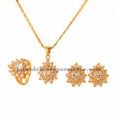 juego de collar y aretes y anillo de cristal de dorado para mujer-BRNEG101118