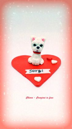 #westie West Highland Terrier cake topper, dog birthday, dog cake topper, personalized, for dog lovers, westie decor, heart decor, dog gift