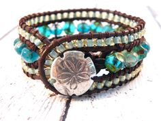 Tropical Leather Cuff Made with Blue and Sea Green by GloryGift, $55.00