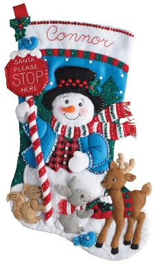 It's true that MerryStockings carries the full line of Bucilla felt Christmas stocking kits. We also have exclusive retired & discontinued Bucilla kits that you'll find no where else. With the largest inventory of kits anywhere, we know you'll find a kit Felt Stocking Kit, Christmas Stocking Kits, Felt Christmas Stockings, Crochet Christmas Trees, Christmas Signs, Holiday Ornaments, Christmas Crafts, Stocking Ideas, Santa Stocking
