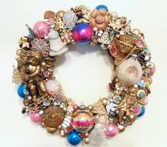 Christmas Wreath Loaded with Vintage Jewelry & Ornaments. $265.00, via Etsy.
