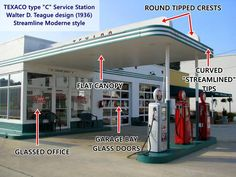 The basic design of a Type C Texaco service station from the 1930s. Art Moderne or Streamline Moderne, was popular in the 1930s and evolved from Art Deco. Its main features are: curved shapes with rounded edges, horizontal lines or grooves in walls, flat roofs, smooth wall surfaces (plaster) and pale beige or off-white colors with contrasting dark trims.